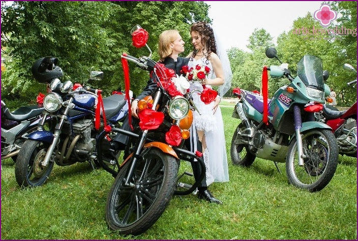 Motorcycle wedding among nature