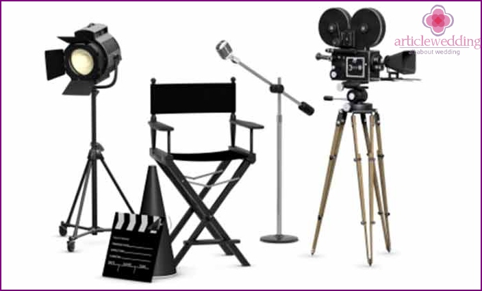 Props for the organization of filming at a movie wedding