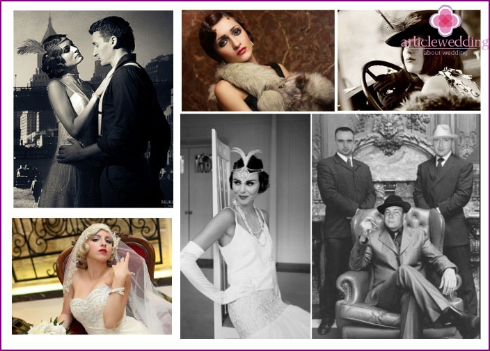 Examples of wedding dresses of the bride and groom for a movie wedding
