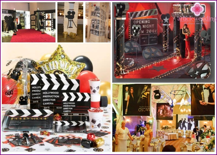 Examples of hall decorations for a wedding film festival