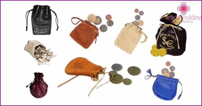 Beispiele für Ledertaschen für Münzen, Weizen für eine Hochzeit