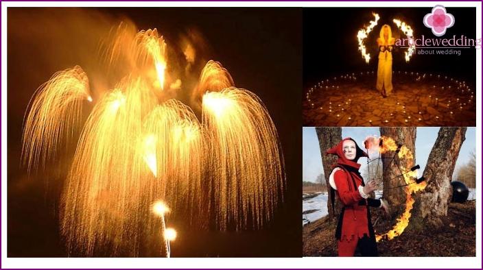 Feuerwerk - ein spektakuläres Ende einer Filmhochzeit