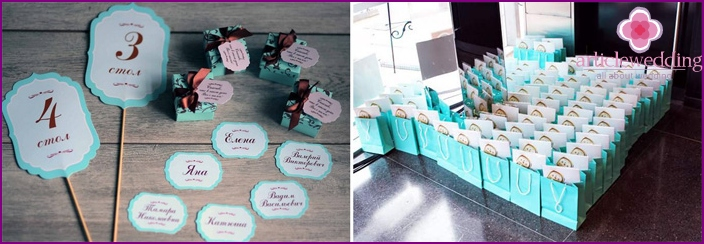Tiffany style seating cards