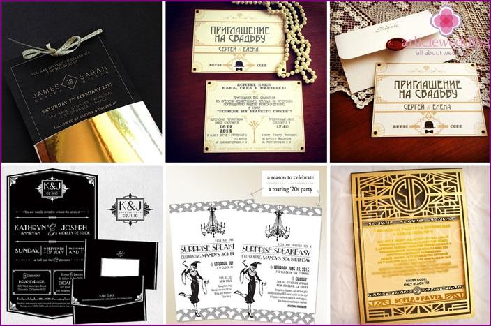 Wedding retro invitation cards