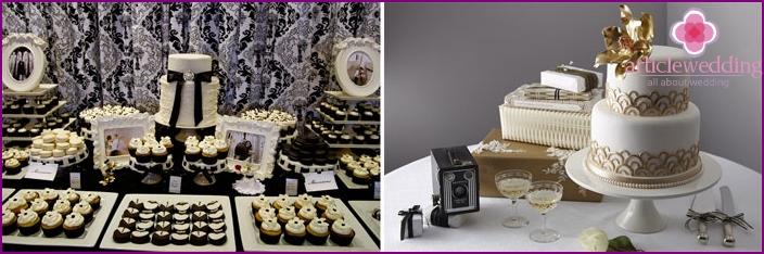 Kuchen für eine Hochzeit stilisiert für die 20er Jahre