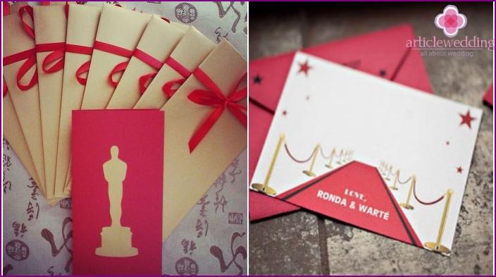 Oscar-style invitation cards