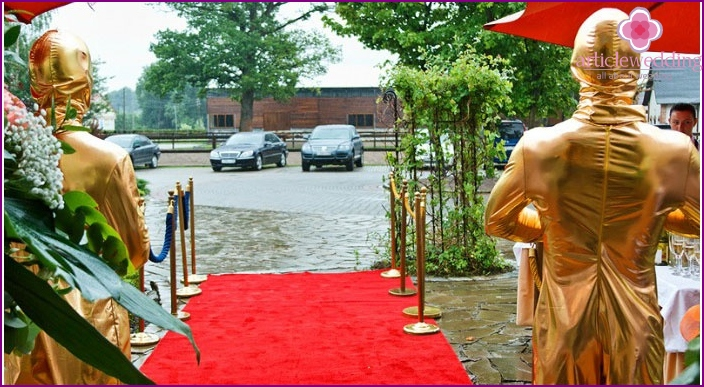 Red carpet for an oscar wedding