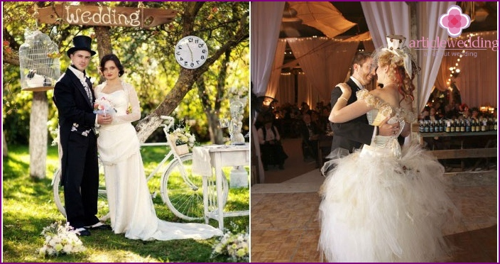 Steampunk wedding outdoors and indoors