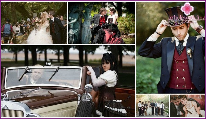 Interesting images of a groom with a steampunk bride