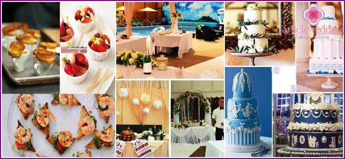 A varied menu for a Greek wedding