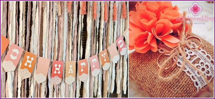 Rustic style wedding decoration elements.