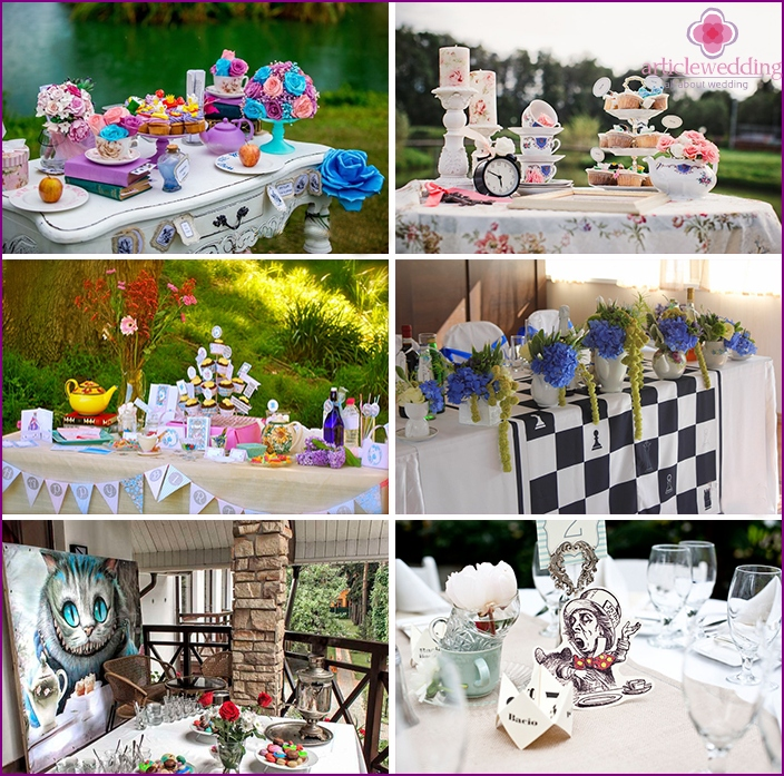 Hallin ja pöydän muotoilu Alice in Wonderland -tyylillä