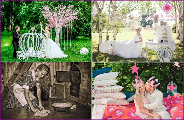 Wedding photos of the newlyweds in the style of Cinderella
