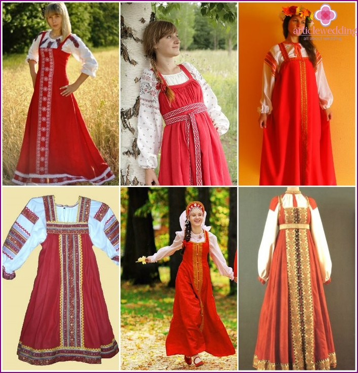 Sundress for a wedding in a folk Russian style