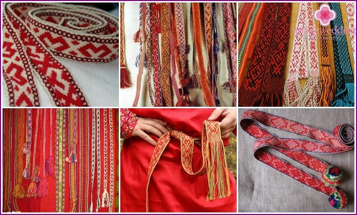 Wedding belts in Russian style of clothes