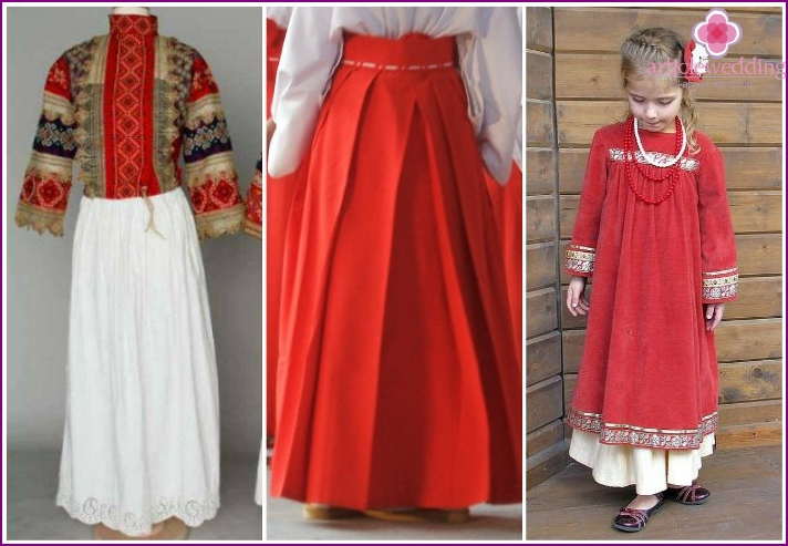 Lower wedding skirt in folk Russian style