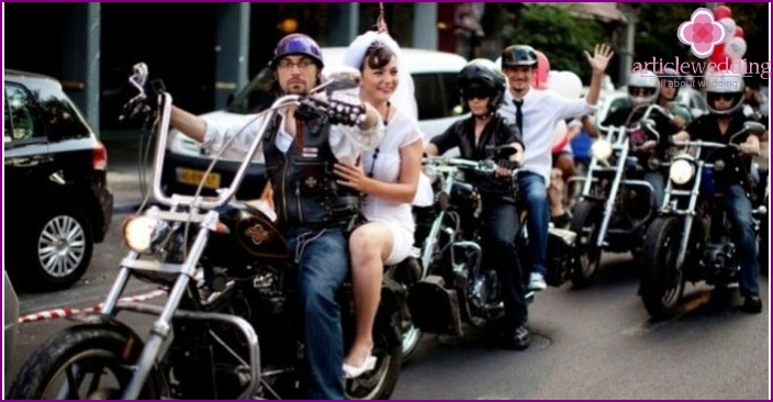 Wedding procession of rock celebration