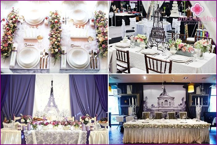 Decoration of festive tables for a Parisian wedding