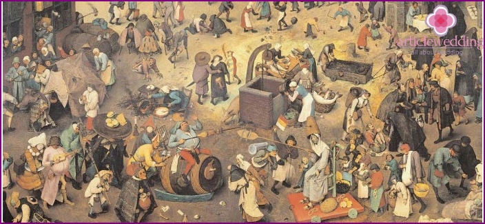 Painting depicting the inhabitants of the Middle Ages