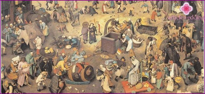 Maalaus kuvaa keskiajan asukkaita
