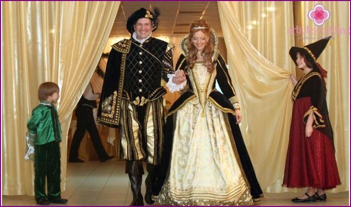 Newlyweds at a festive banquet