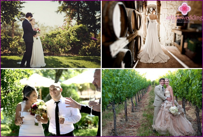 Grape images of the newlyweds at a thematic wedding