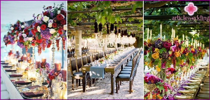 Grape-style wedding table decoration