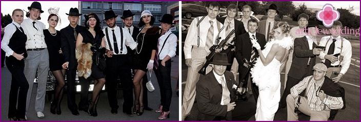 Mafia-style wedding attire