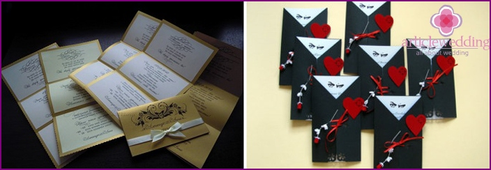 Invitations, decorated in the style of the mafia