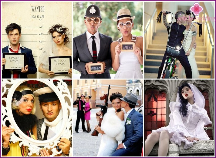 Creative image of the newlyweds for the wedding.