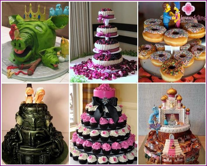 Original Hochzeitstorte und Süßigkeiten