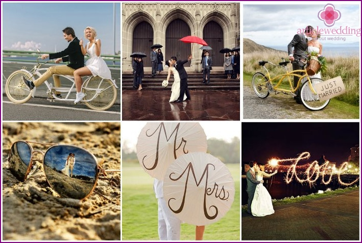 Unusual ideas for a creative photo shoot of the newlyweds