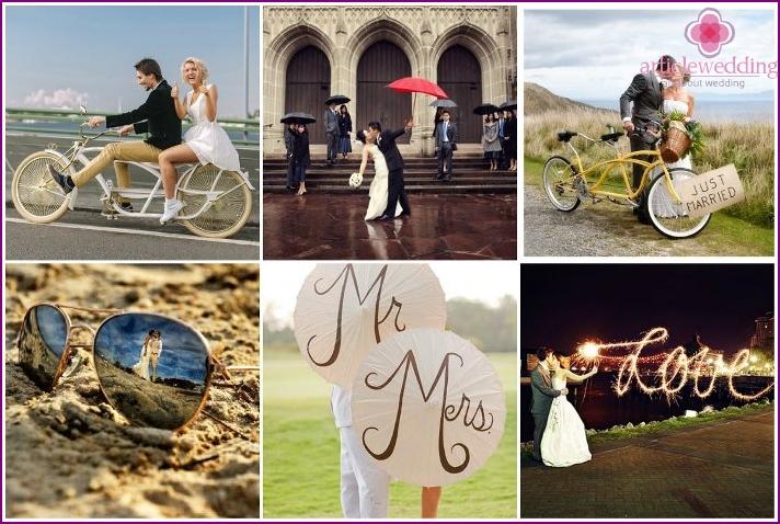 Ungewöhnliche Ideen für ein kreatives Fotoshooting des Brautpaares