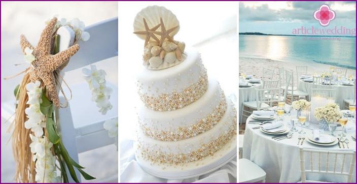 Beautiful decoration of a marine wedding