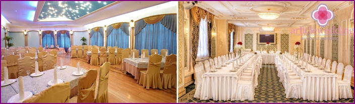 Decoration of a banquet room for a wedding in a classic style