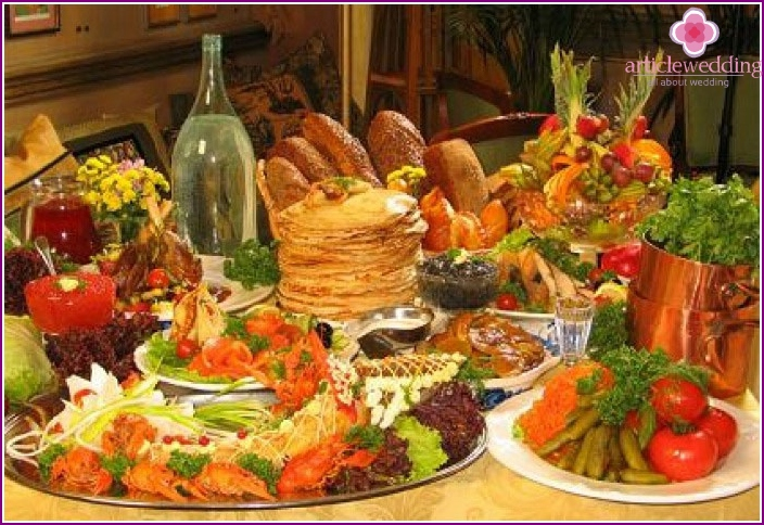 Rich national Russian cuisine