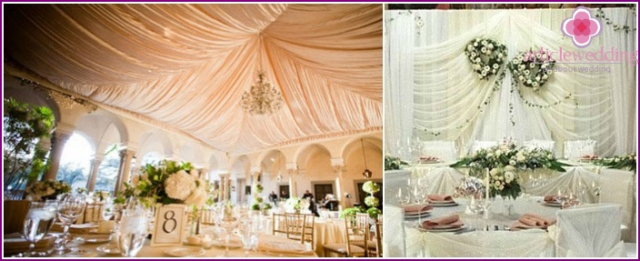 Fabrics in the decoration of the hall for an empire wedding