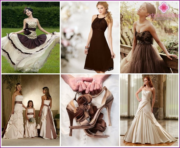 Chocolate wedding dresses and shoes