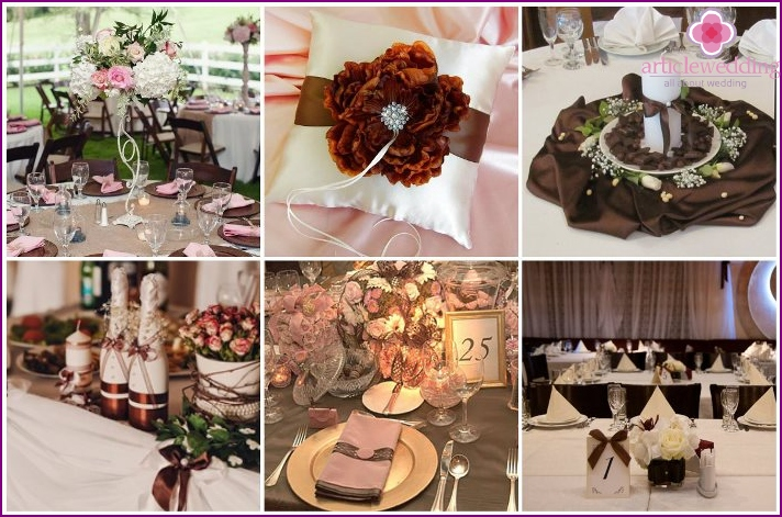 Table decor for a wedding in chocolate color
