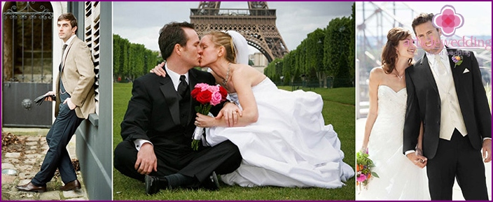 The image of the groom for the wedding in French