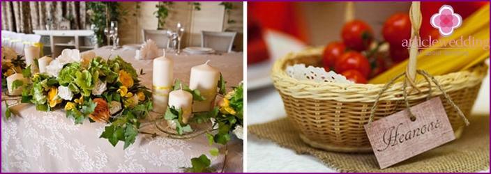Decorations for an Italian wedding