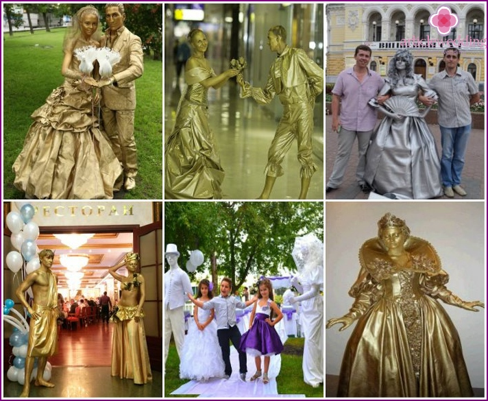 Living statues at the wedding of the era of Catherine the Great