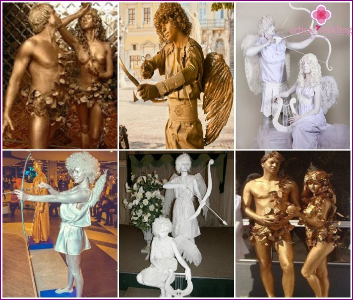 Living sculptures of the god of love at the wedding
