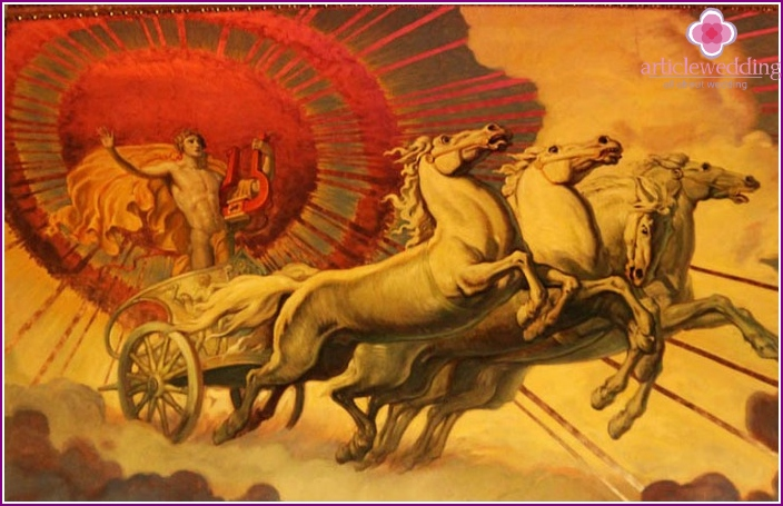 Helios on a chariot for a wedding carriage