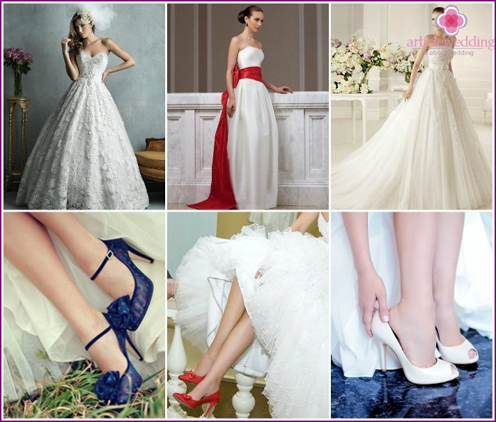 Dresses and shoes of the bride