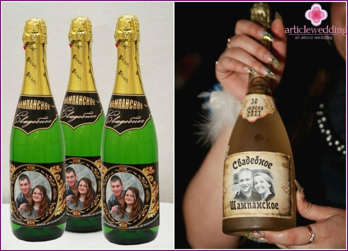 Champagne Wedding Label Examples