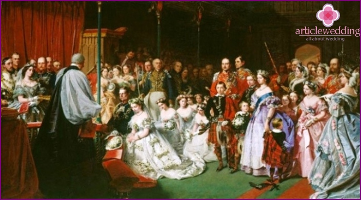 The wedding of the crowned persons to the accompaniment of the Mendelssohn march