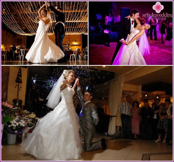 Kauniit puolisot tanssivat liikkeitä