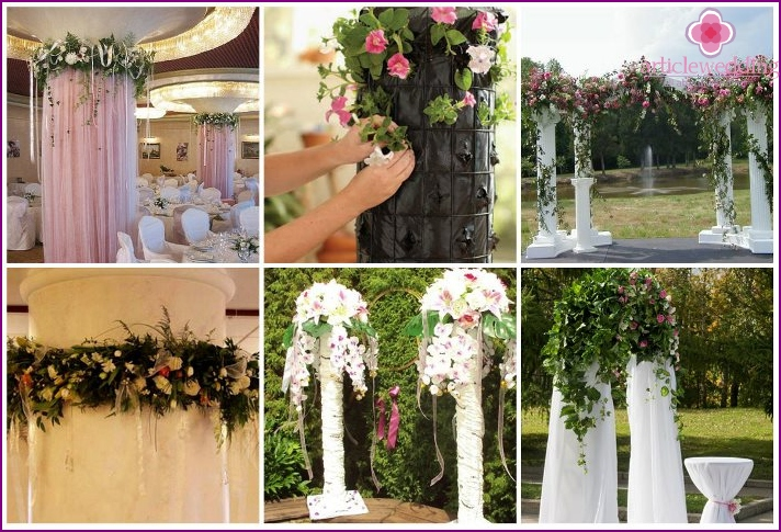 Floral decoration of columns for a wedding