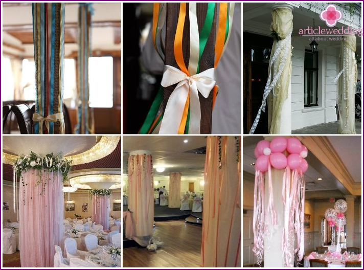 Column decoration with satin ribbons